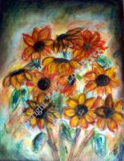 1-sunflower mixed media